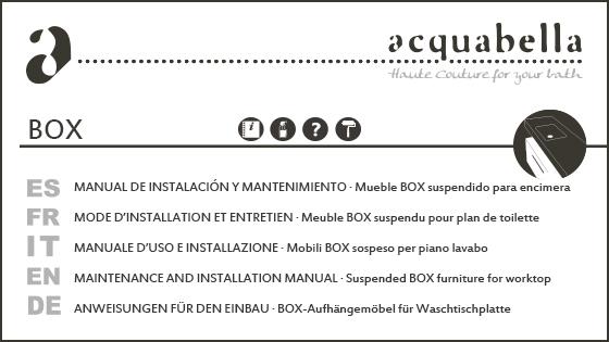 MANUEL D'UTILISATION ET D'ENTRETIEN – MEUBLE BOX POUR SUPPORTER UNE VASQUE
