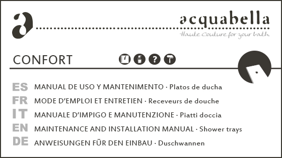USE & MAINTENANCE MANUAL –  CONFORT SHOWER TRAYS