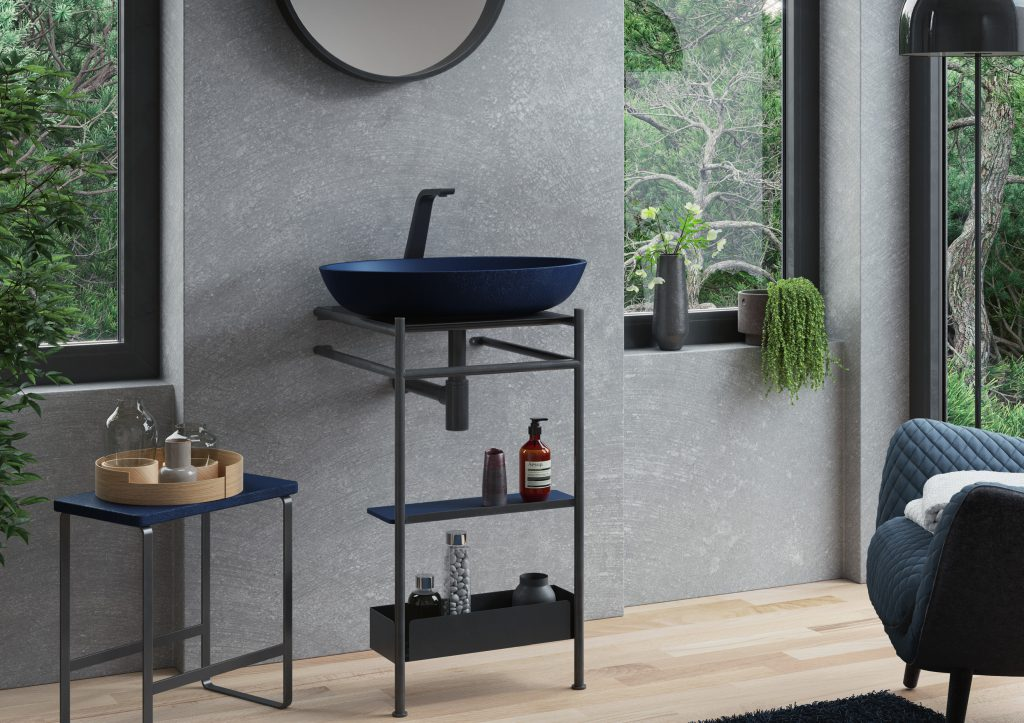 baño mueble metal industrial on top